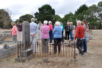 Members of the Condah community visit their local cemetery